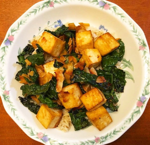 Baked Tofu and Coconut Kale